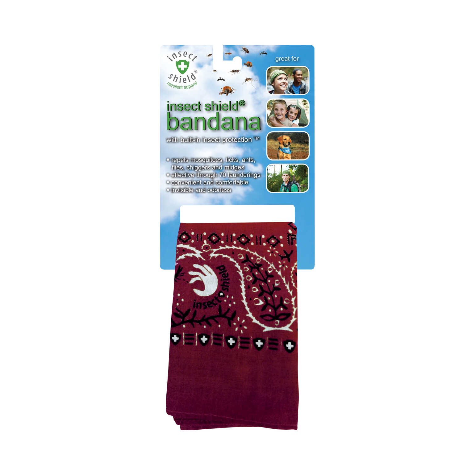 Insect Shield  Dark Red  Organic Bandana  Cloth  For Mosquitoes/Ticks 1 pk