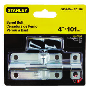 National Hardware  4 in. L Zinc-Plated  Steel  Barrel Bolt  1 pk