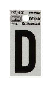 Hy-Ko  1 in. Reflective Black  Vinyl  Letter  D  Self-Adhesive  1 pc.