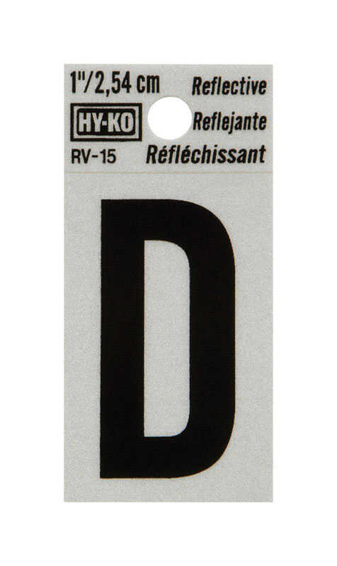 Hy-Ko  Reflective 1 in. Black  D  Letter  Self-Adhesive  Vinyl