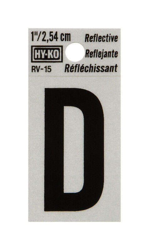 Hy-Ko  1 in. Reflective Black  Vinyl  Self-Adhesive  Letter  D  1 pc.