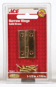 Ace  2.75 in. W x 1-1/2 in. L Polished Brass  Steel  Narrow Hinge  2 pk