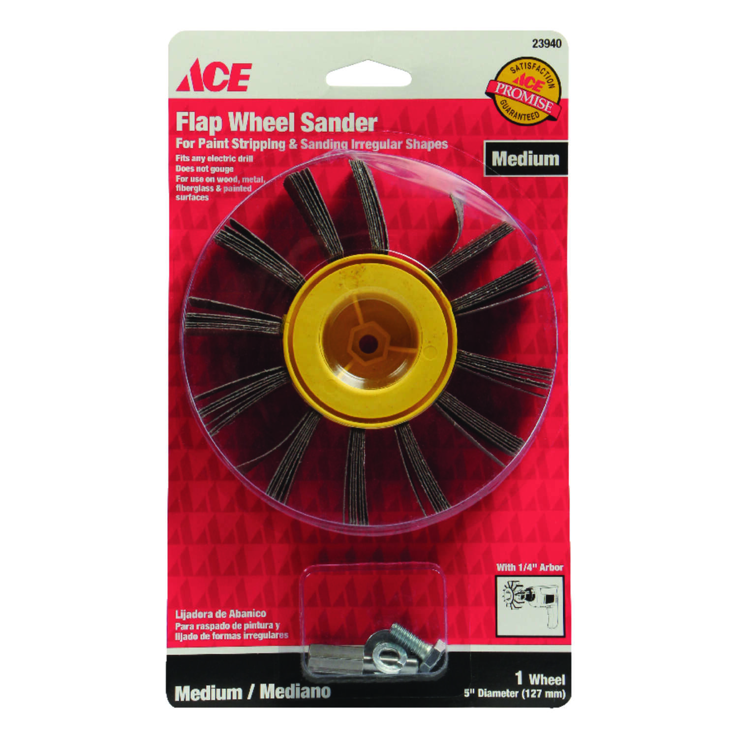 Ace  5 in. Dia. x 1/4 in.   Aluminum Oxide  Flap Wheel  80 Grit Medium  1 pk