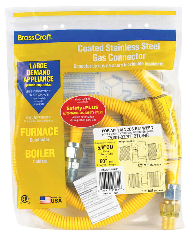 Brasscraft  ProCoat  1/2 in. 1/2 in. Dia. x 60 in. L Stainless Steel  Connector