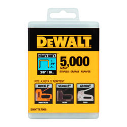 DeWalt  3/8 in. L 20 Ga. Narrow Crown  Heavy Duty Staples  5000 pk