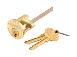 Prime-Line  Segal  Brass-Plated  Zinc  Key Lock Cylinder  Keyed Differently