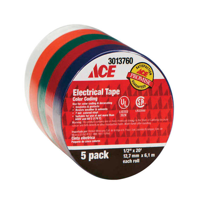 Ace  1/2 in. W x 20 ft. L Multicolored  Vinyl  Electrical Tape