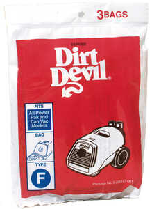 Dirt Devil Royal Vacuum Bag  Type F Fits Royal Carded 3 / Pack Canister