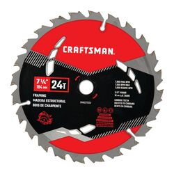 Craftsman  7-1/4 in. Dia. x 5/8 in.  High Performance  Carbide  Circular Saw Blade  24 teeth 1 pk