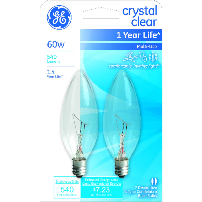 Ge 60 Watts B10 Incandescent Bulb 540 Lumens Soft White Decorative 2 Pk Ace Hardware