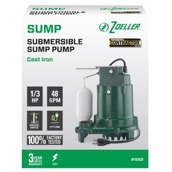 Zoeller  1/3 hp 48 gph Cast Iron  Vertical Float Switch  AC  Bottom Suction  Submersible Sump Pump