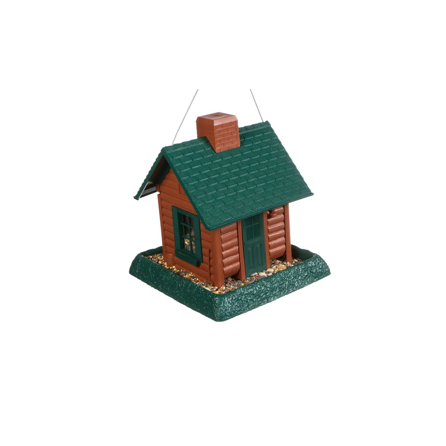 North States Log Cabin Wild Bird 1 lb. Plastic Hopper Bird Feeder 4 ports