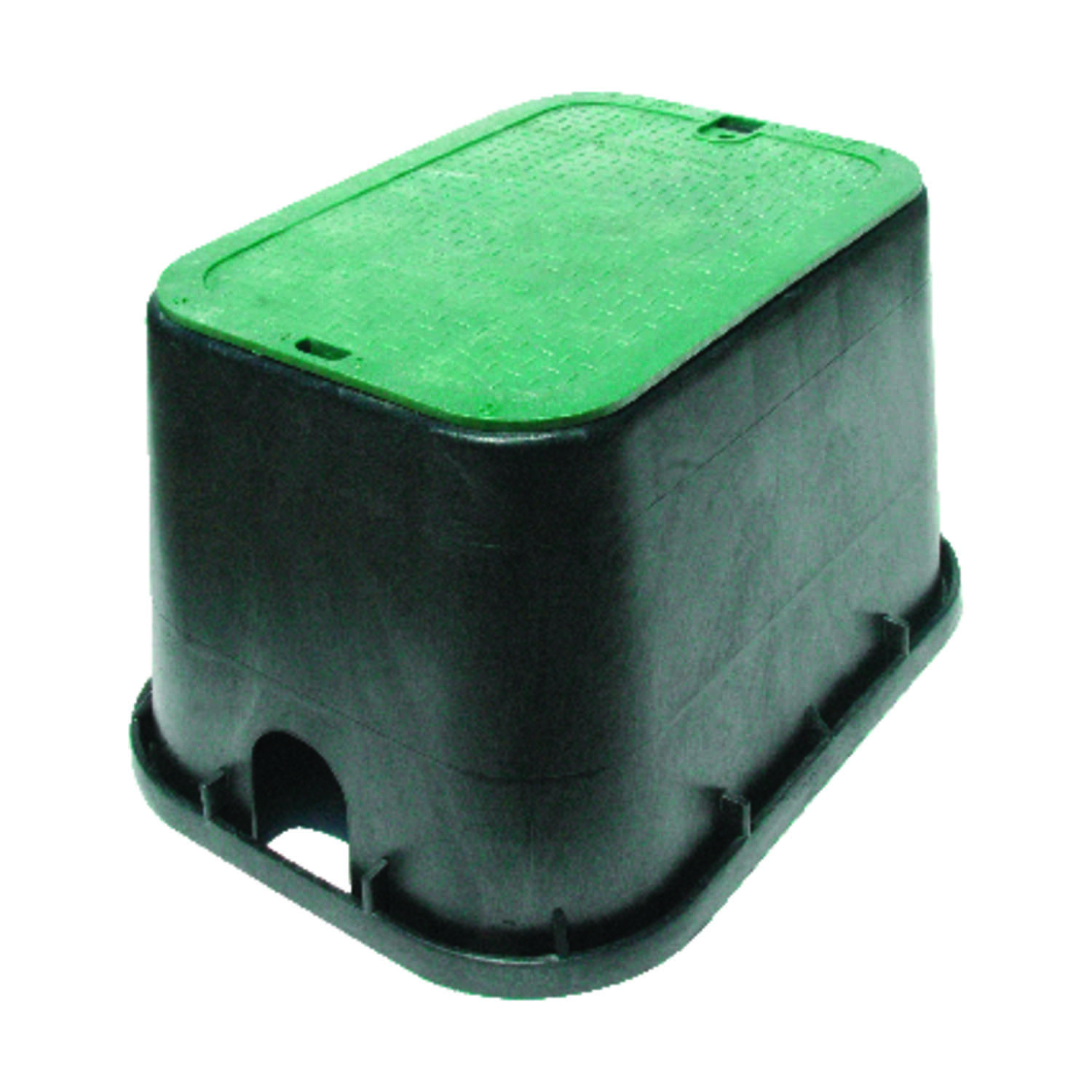 NDS  21 inch  W x 12 inch  H Rectangular  Valve Box with Overlapping Cover  Black/Green