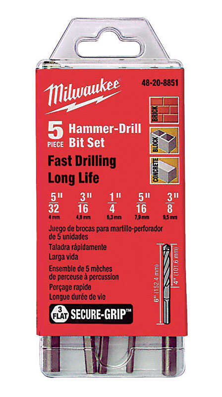 Milwaukee  Secure-Grip  Assorted in. Dia. x 6 in. L Carbide Tipped  3-Flat Shank  5 pc. 1/2 in. Hamm