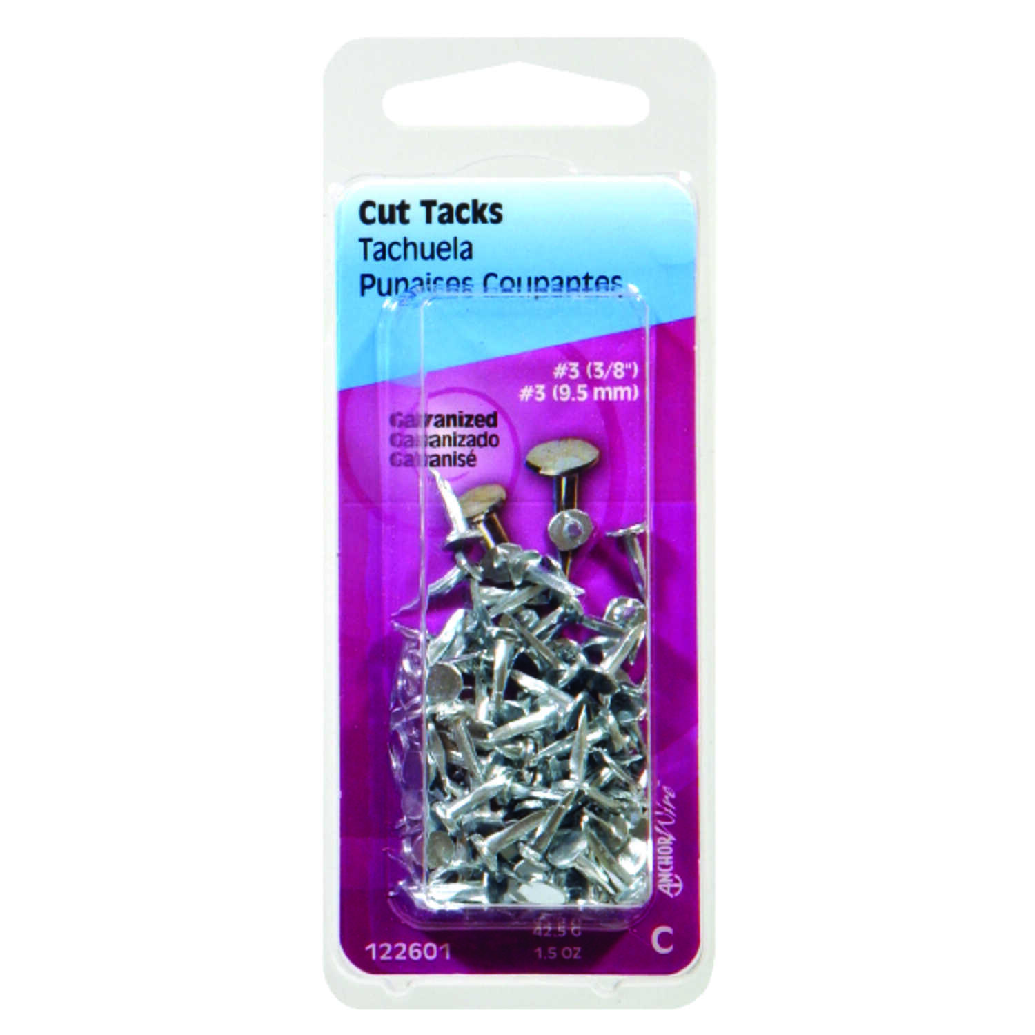 Hillman  No. 3   x 3/8 in. L Galvanized  Silver  Steel  Cut Tacks  0.5 pk