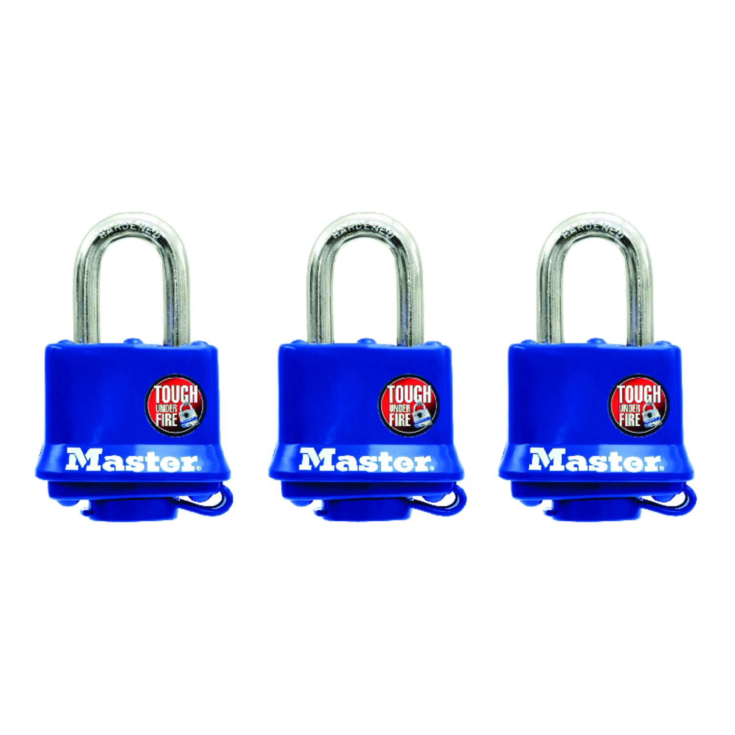 Master Lock  1-5/16 - 1-11/16 in. H x 1 in. W Double Locking  Vinyl Covered Steel  Padlock  3 pk Key