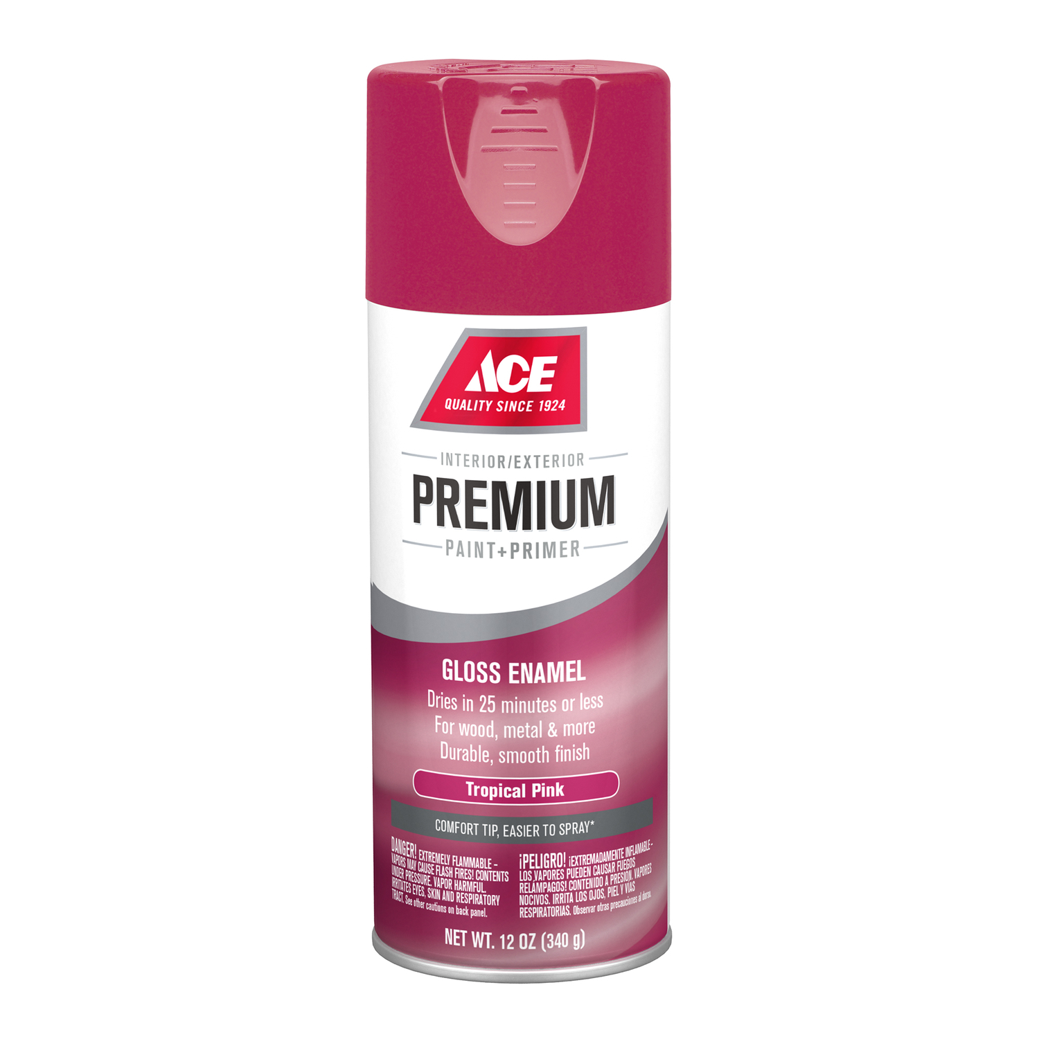 Ace  Premium  Gloss  Paint and Primer Spray Paint  12 oz. Tropical Pink