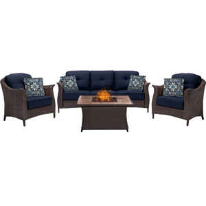 Hanover  Gramercy  4 pc. Java  Steel  Firepit Set  Blue
