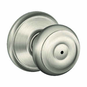 Schlage  Georgian  Satin Nickel  Steel  Privacy Lockset  ANSI Grade 2  1-3/4 in.