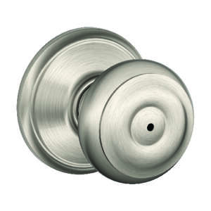 Schlage  Georgian  Satin Nickel  Steel  Privacy Lockset  1-3/4 in. ANSI Grade 2