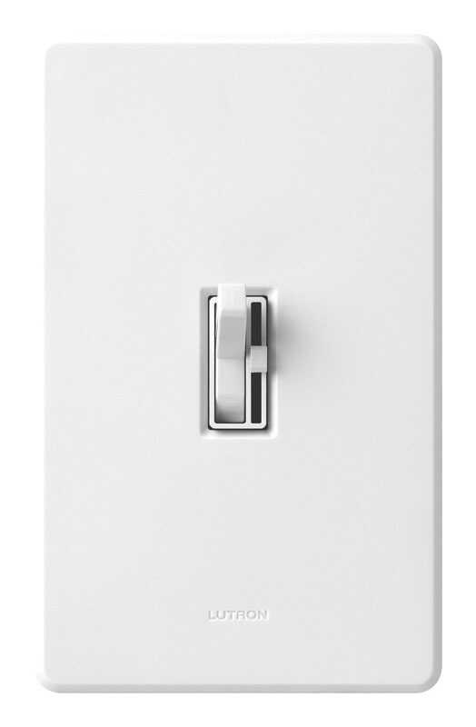 Lutron  Toggler  White  600 watts Dimmer Switch  3-Way