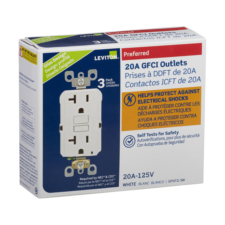 Leviton Smartlock Pro 20 Amps 125v Volt White Gfci Outlet