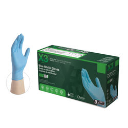 X3 Nitrile Disposable Gloves Large Blue Powder Free 100 pk