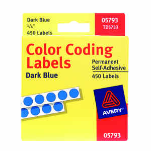 Avery  0.25 in. H x 1/4 in. W Blue  Color Coding Label  450 pk