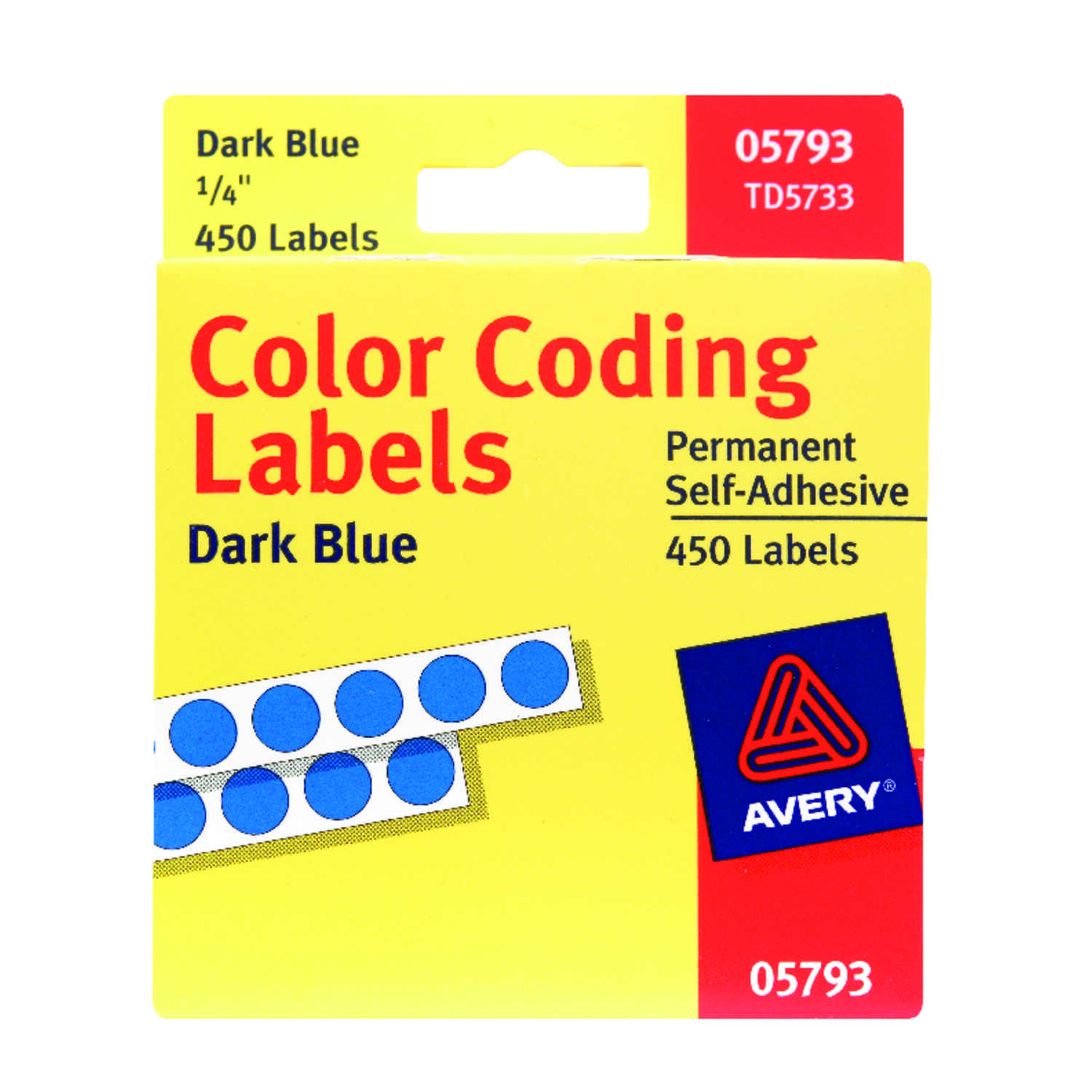 Avery  0.25 in. H x 1/4 in. W Blue  450  Blue  Color Coding Label  Round