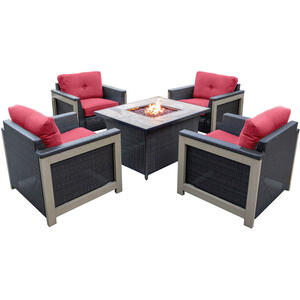 Hanover  Montana  Montana  5 pc. French Roast  Aluminum  Firepit Set  Red