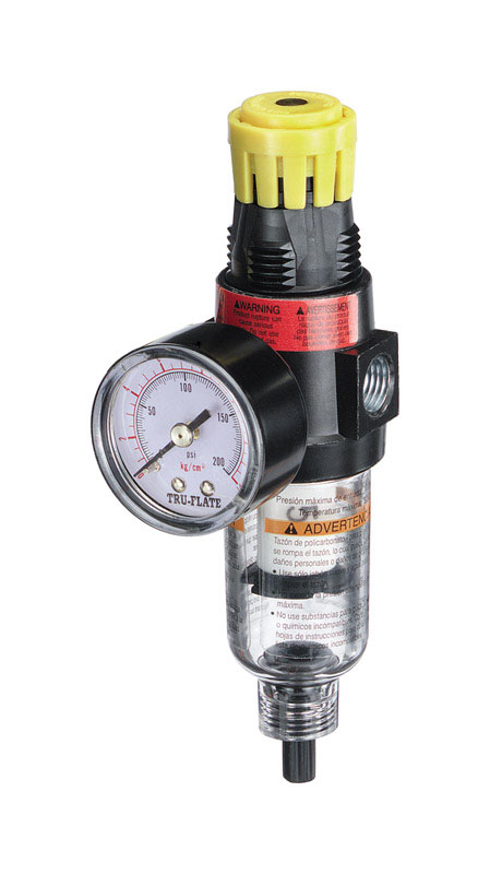 Tru-Flate  Plastic  1/4  Filter and Regulator with Gauge  NPT  1 pc. 250 psi