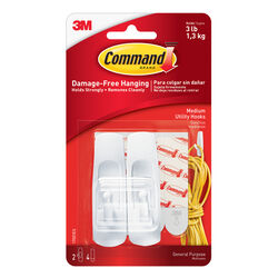 3M Command Medium Plastic Hook 3-7/8 in. L 2 pk
