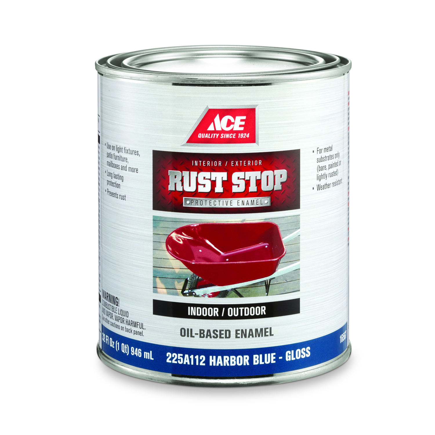 Ace  Rust Stop  Indoor and Outdoor  Interior/Exterior  Harbor Blue  1 qt. Rust Prevention Paint  Glo
