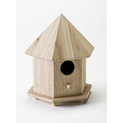 Plaid 6.75 in. H x 9 in. W x 5.75 in. L Natural Beige Wood Gazebo Birdhouse