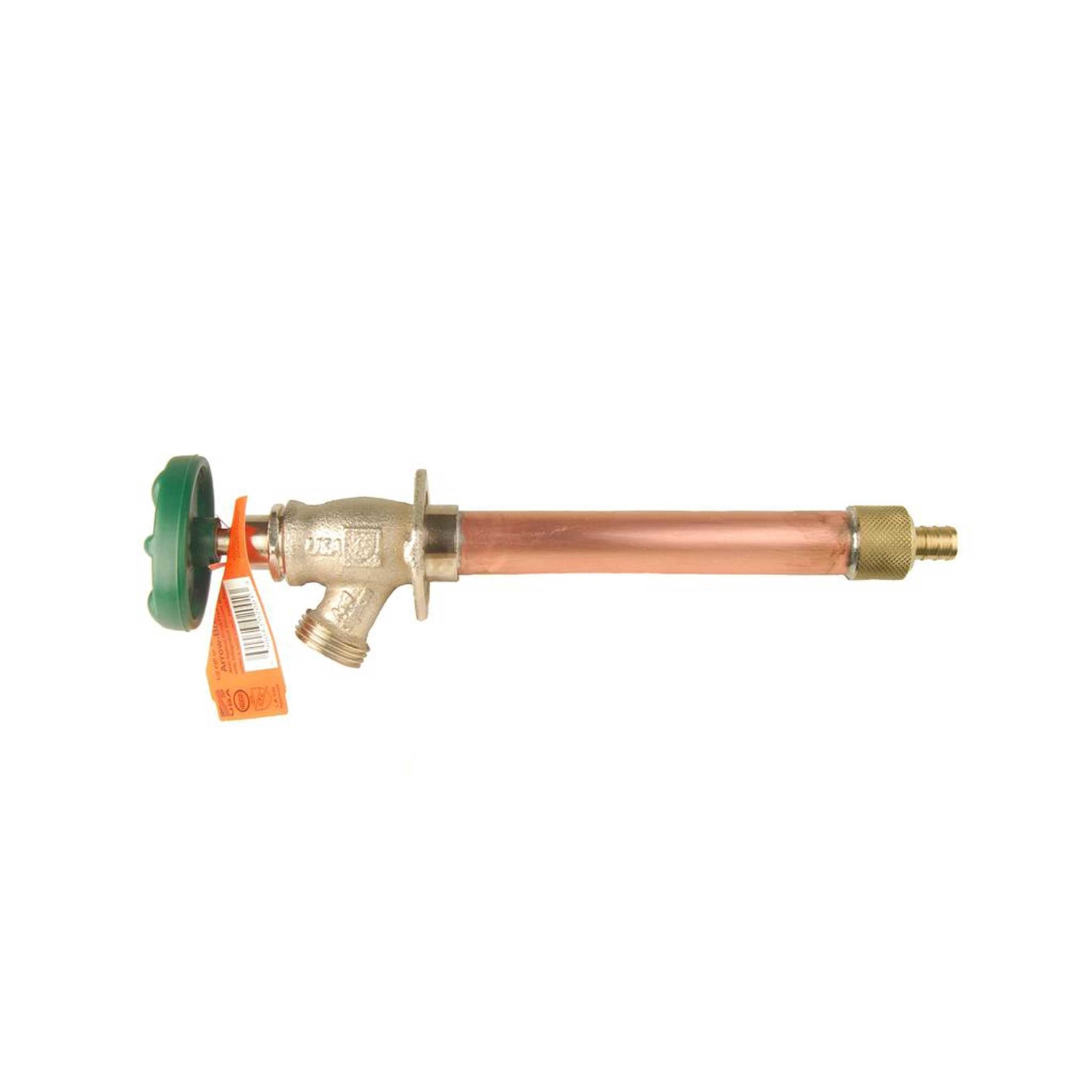 Arrowhead  1/2 in. PEX  Dia. x 3/4 in. Dia. Hose  13 in. Brass  Frost-Proof Wall Hydrant  Antisiphon