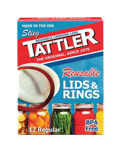 Tattler  Regular Mouth  Canning Lids with Rubber Rings  12 pk