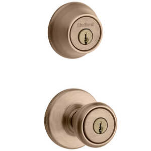 Kwikset  Tylo  Antique Brass  Steel  ANSI/BHMA Grade 3  Entry Lock and Single Cylinder Deadbolt  1-3
