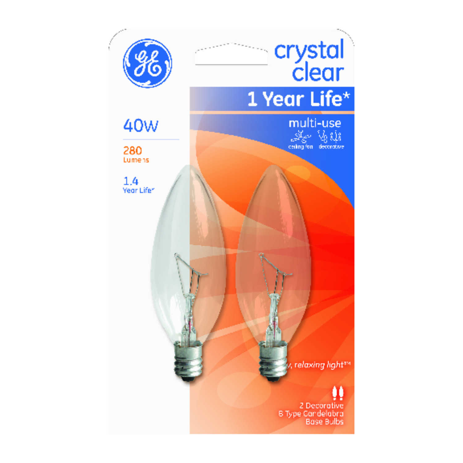 GE Lighting  40 watts B10  Incandescent Light Bulb  280 lumens White (Clear)  Blunt Tip  2 pk