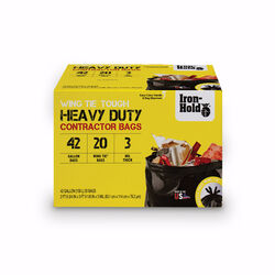 Iron-Hold  42 gal. Contractor Bags  Wing Ties  20 pk