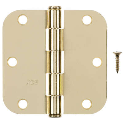 Ace  3-1/2 in. L Bright Brass  Residential Door Hinge  3 pk