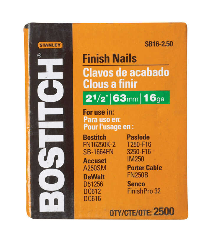Stanley Bostitch  16 Ga. Smooth Shank  Straight Strip  Finish Nails  2-1/2 in. L x 0.06 in. Dia. 2,5