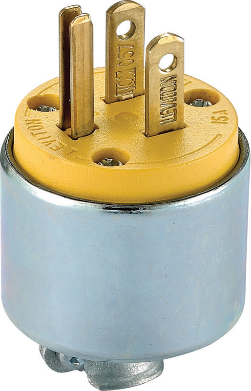 Leviton  Commercial  Armored  Grounding  Plug  5-15P  18-12 AWG 2 Pole 3 Wire