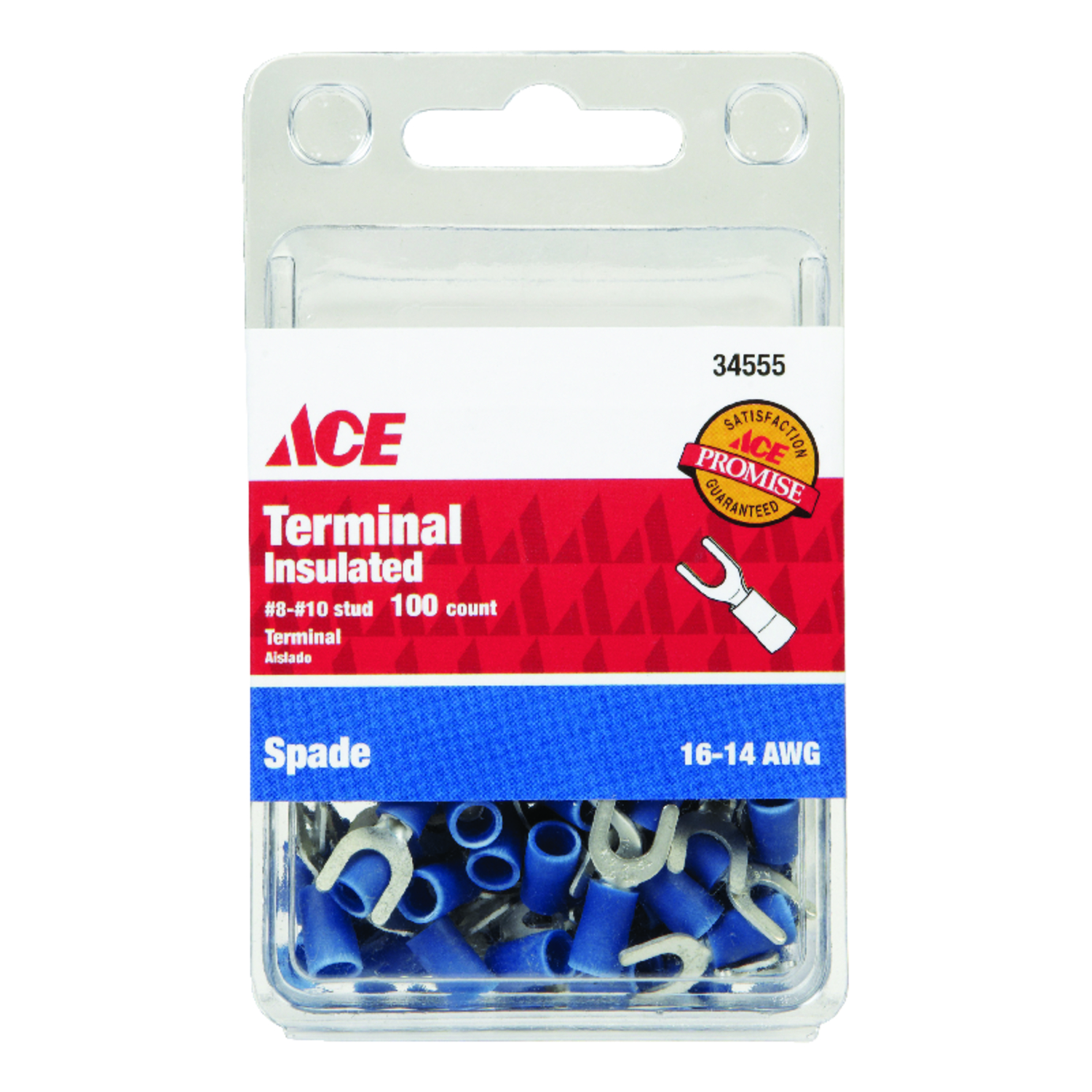 Ace  Insulated Wire  Spade Terminal  100  16-14 AWG