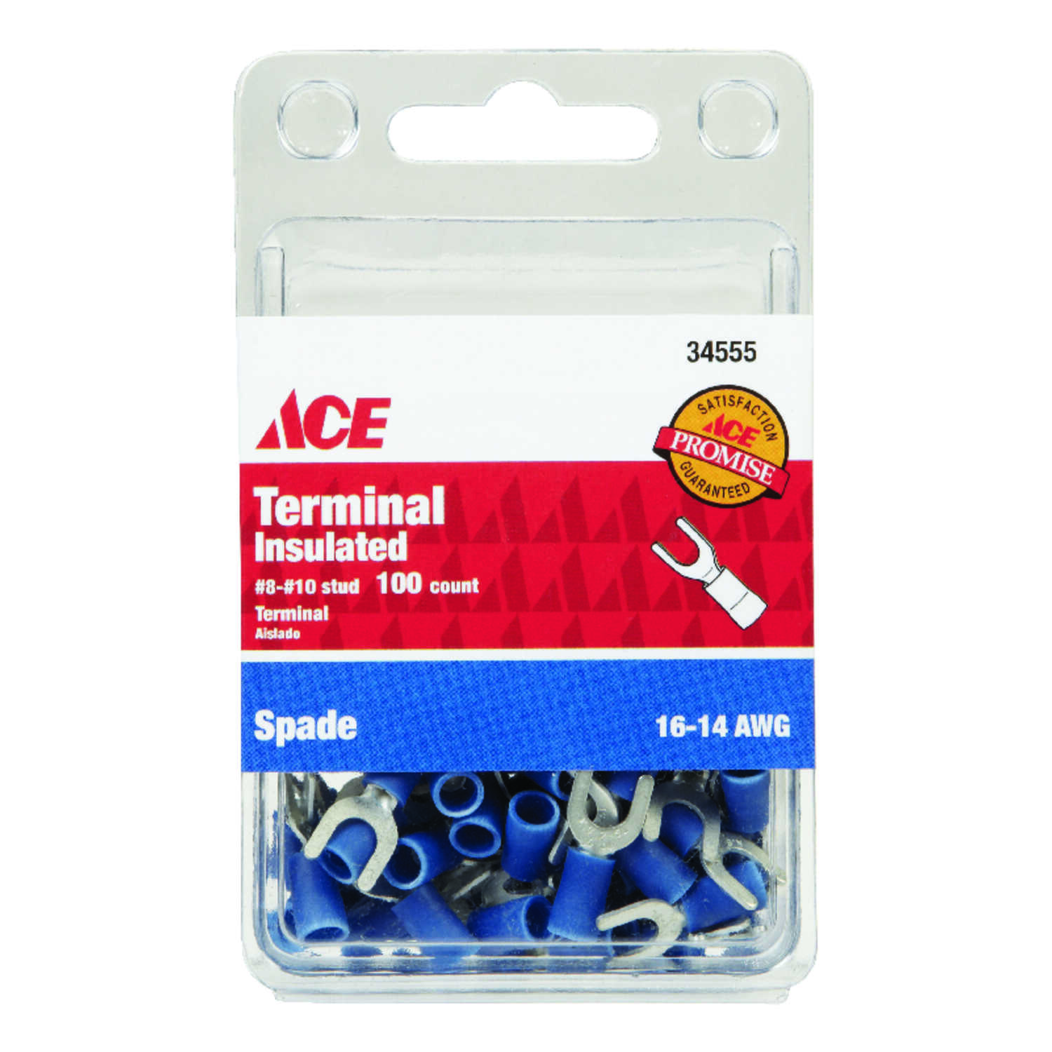Ace  Insulated Wire  Spade Terminal  Blue  100 pk