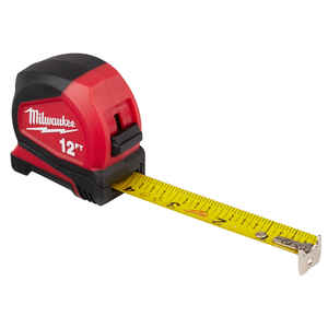Milwaukee  12 ft. L x 1.32 in. W Compact  Tape Measure  Red  1 pk