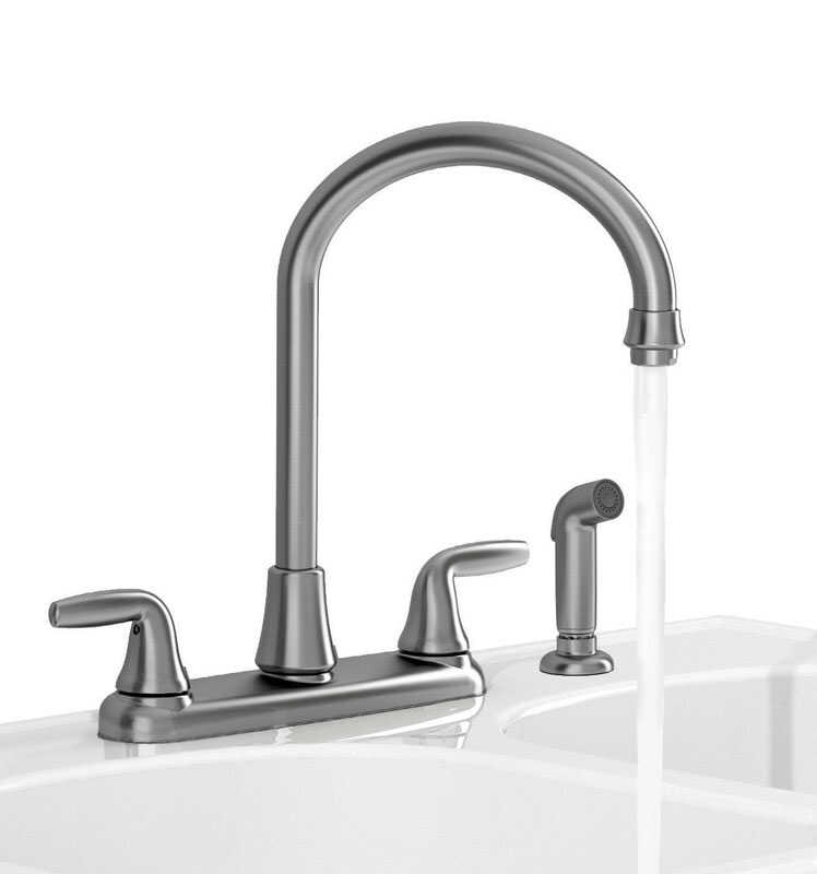 American Standard  Jocelyn  Two Handle  Stainless Steel  Kitchen Faucet  Side Sprayer Included