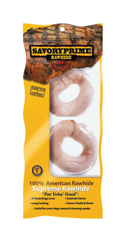 Savory Prime  Donut Shaped  Medium, Large  Adult  Rawhide Bone  Natural  4 in. L 2 pk
