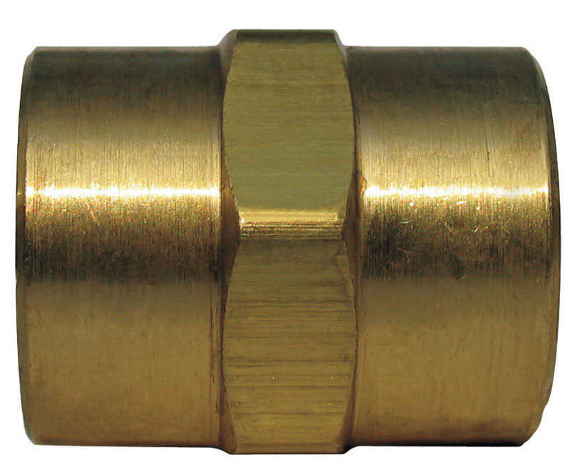 Ace  1/4 in. Dia. x 1/4 in. Dia. FPT To FPT  Yellow Brass  Coupling