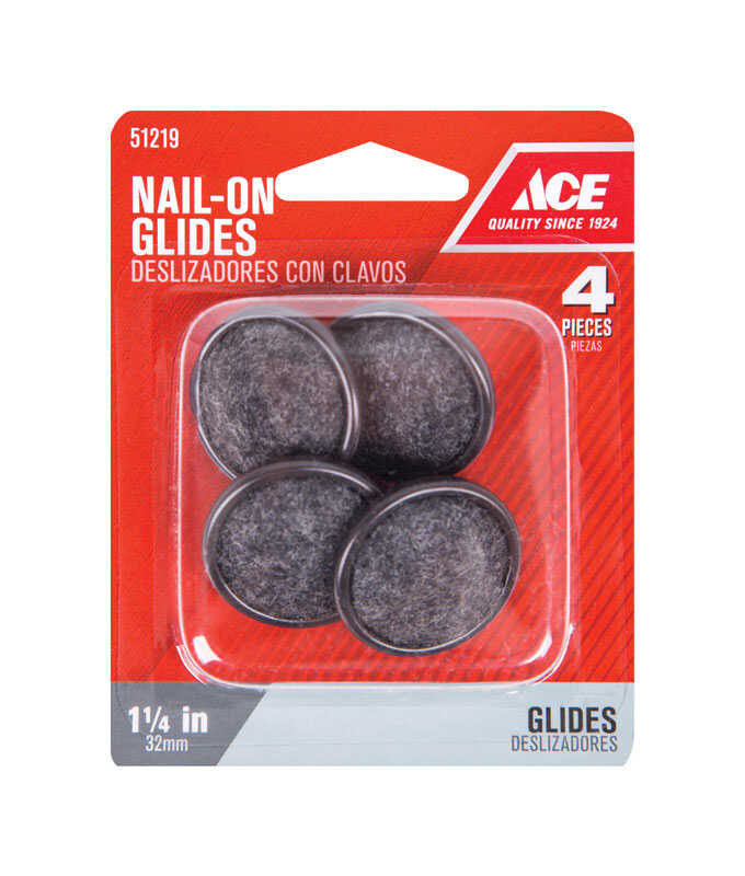 Ace  Carpet/Nylon  1.25 in. Nail On  Chair Glide  4  1-1/4 in. W