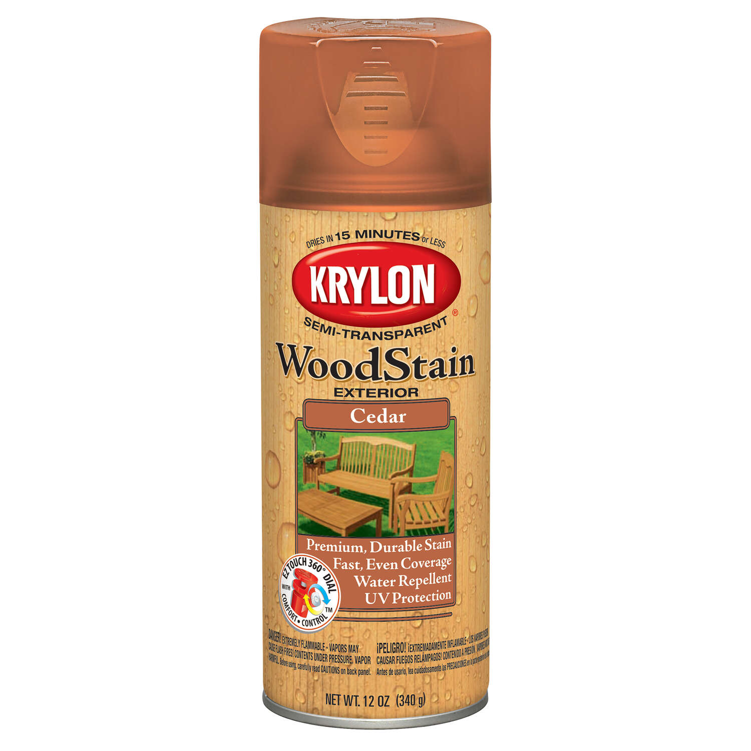 Krylon  Semi-Transparent  Smooth  Cedar  Oil-Based  Oil  Wood Stain  12 oz.
